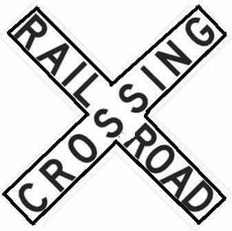 The black and white sign is referred to as a cross buck and is a warning that the driver is at the railroad crossing. Look, Listen and be prepared to stop.