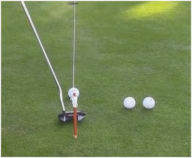 so you can see the line Line up some putts using the string to help