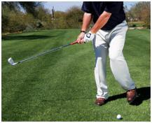DRIVE DISTANCE BASEBALL DRILL Using an iron, make a normal golf swing As you take the club to your backswing, lift your left