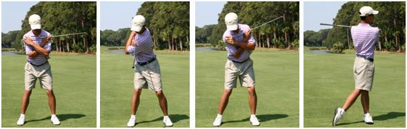 AT HOME DRILLS ONE CLUB PIVOT Place the club in front of your shoulders and cross your arms and assume your set up position Make sure your left shoulder is slightly higher than your right Feel your