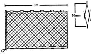 Hand-hauled yabby net Hand-hauled yabby net table Maximum dimension: Up to 6 m in length. 40 mm maximum, calculated across the diagonal. Note: Can only be used in ground tanks, bore drains or lagoons.