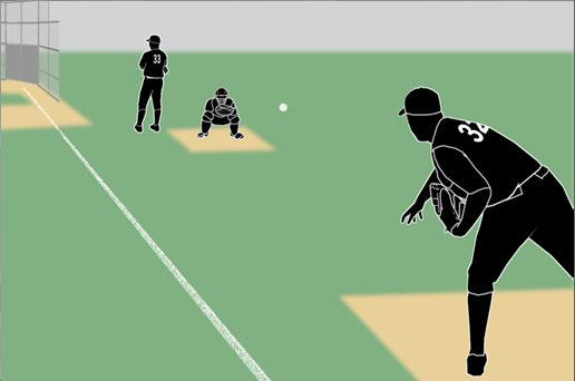The pitcher leaves the dirt area of the pitching mound or takes a position more than five feet from the pitcher s plate after receiving the ball.