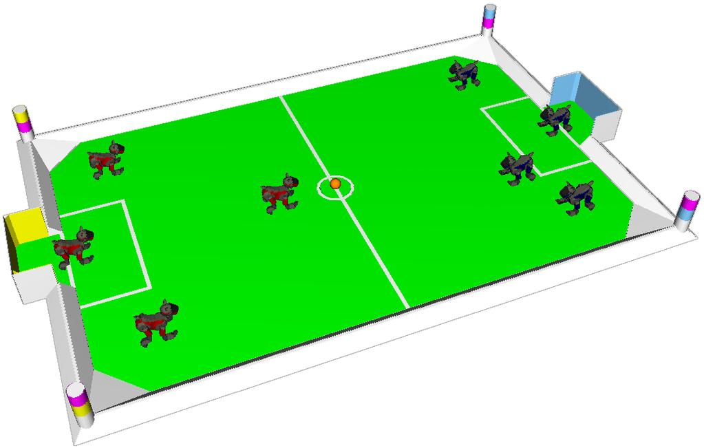 Figure 4: Field colors and manual setup for kick-off. The field (carpet) itself is green. The lines on the field, the field wall, and the outer wall surrounding the field are white.