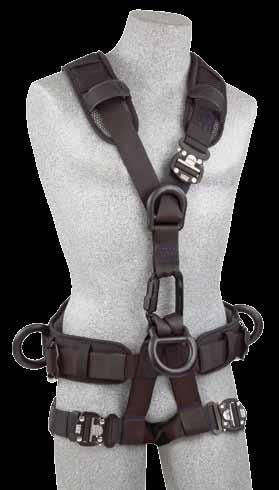 The harnesses combine specialized designs, components and hardware to optimize rope rescue and