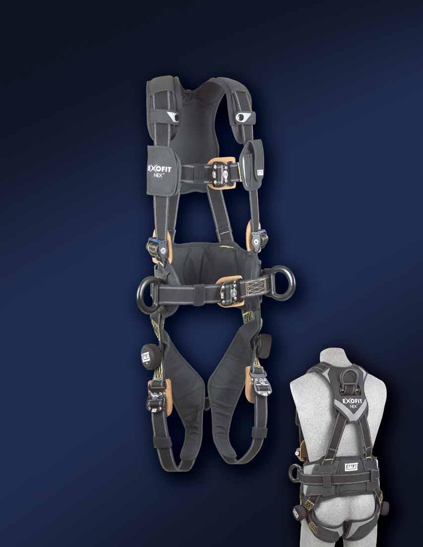 F U L L B O D Y H A R N E S S E S The Ultimate Full Body Comfort Harnesses ExoFit NEX Arc Flash models feature flame resistant and non-conductive construction, making them perfect for use where high