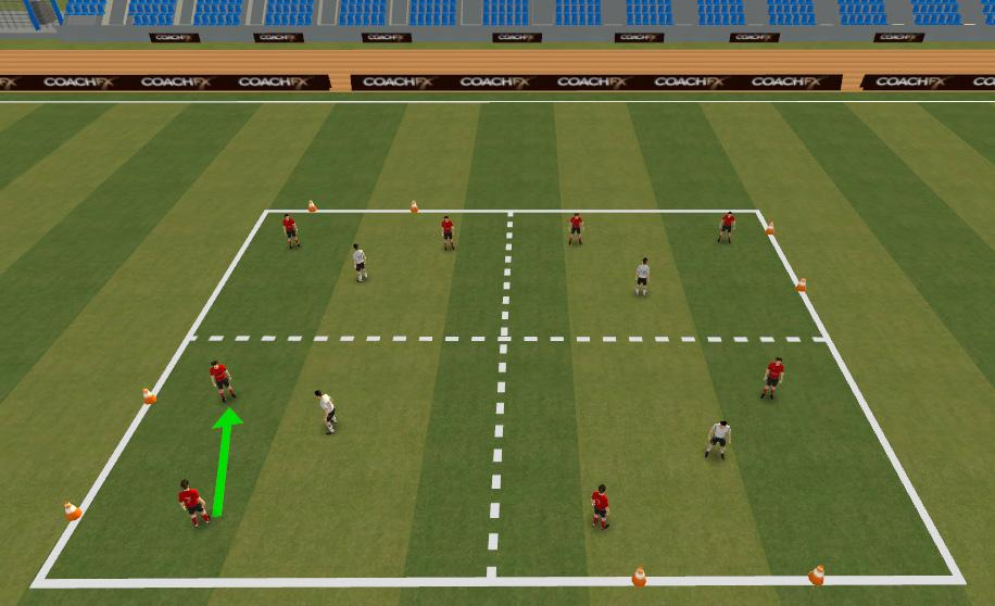 WEEK EIGHT: Attacking 2v1 TECHNICAL WARM UP (20mins): 2v1 Create a 24x25 yard area split into 4 boxes with a goal on the outside of each box Player work in pairs.