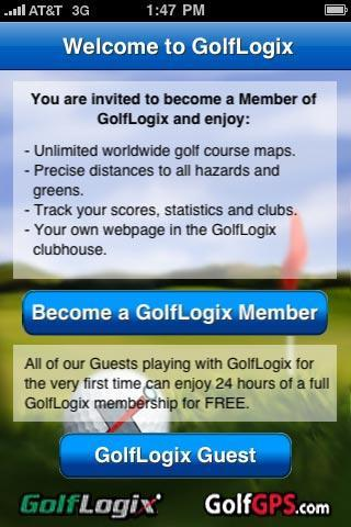 Membership: Guest & Annual Memberships 1. GolfLogix Guest. Press this option if you want to try the GolfLogix application for free on your iphone for 24-hours.