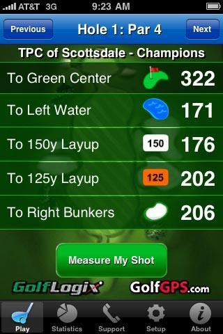 Play Golf: Hazard-Layups Screen Hazard-Layups Screens. These screens display all of the hazards, layups, and the green center yardages on Par 4 and Par 5 holes.