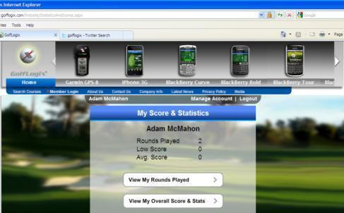 Visit the link below to login and view your online scores and stats: http://golflogix.com/website/memberlogin.