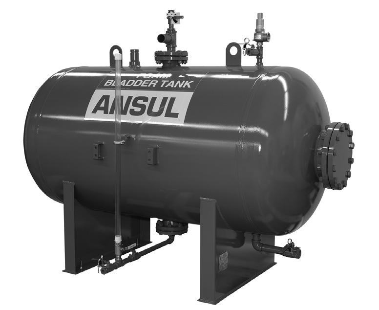 DATA SHEET Horizontal Bladder Tanks Features UL Listed and FM Approved for use with various ANSUL proportioners and foam concentrates 175 psi (12.