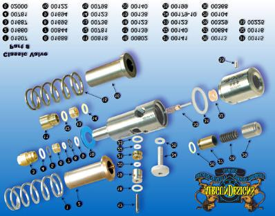 Internals Power Tube Assembly & Bolt ( power tube tip, o-ring, spring) Power Tube Tip: The power tube tip is manufactured from brass and unscrews exposing the power tube o-ring and spring.