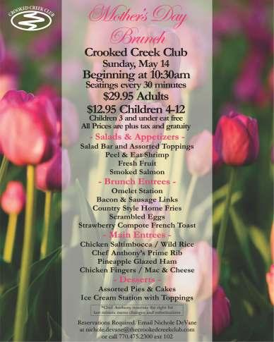 Also, please visit the Crooked Creek Club Facebook page every chance you get for event pictures and tournament results.