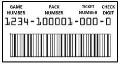 - To validate tickets with 4-digit game numbers, reveal the Secure Shield barcode on the front of the ticket under the latex and scan with the terminal barcode scanner.