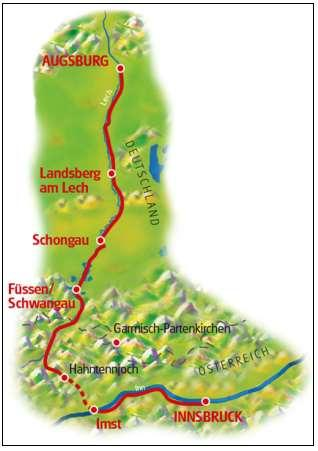 Route Technical Characteristics: Route Profile: You cycle along the River Inn and Lech on bike paths and small side roads on what is a quiet and scenic route close to the Roman road.