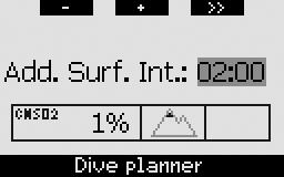2. Menus, settings and functions If there is remaining desaturation on the computer at the time of starting the dive planner, the text ADD. SURF. INT. appears on the display.