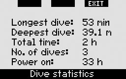 The sixth page shows a listing of all the alarms and warnings that were triggered during the dive. Within the list of dives there is also Dive statistics with a range of dates.