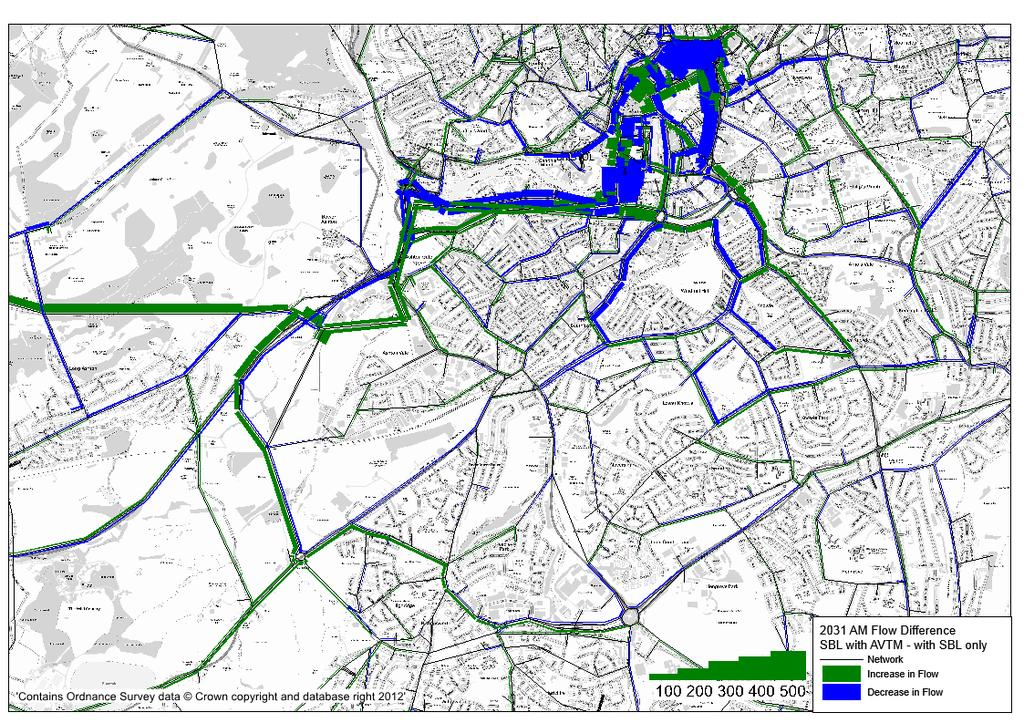 Figure D11 - Changes in Traffic Flows on the Highway Network (2031 AM Peak) Figure D12