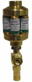 In Line and Point of Supply SIMAX Series The (SIMAX) Flame Tech Flash Arrestor series provide a full range of dry type (no water or fluid to check or replenish) flashback, gas reverse flow, and hose