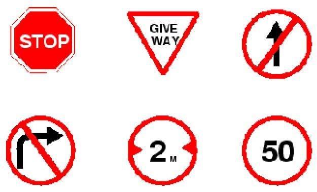 Traffic Signs Cont Regulatory signs Shall be used to inform road users of selected traffic laws or regulations and indicate the applicability of the legal requirements.