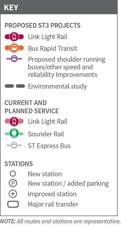 ST3 Adopted Plan Eastside Projects Overlake to Downtown Redmond LRT South Kirkland to