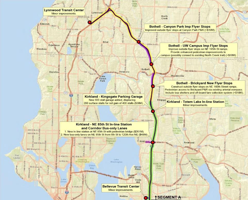 I-405 North BRT Lynnwood to Bellevue In Express Toll Lanes and bus-only shoulder lanes for majority of trip In general purpose