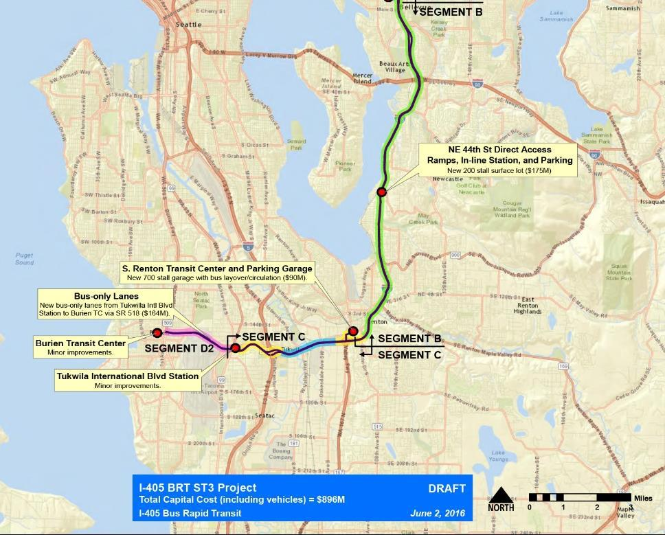 I-405 South/SR 518 BRT Bellevue to Renton, Tukwila Int l Blvd station & Burien Transit Center In Express Toll Lanes from Bellevue to S