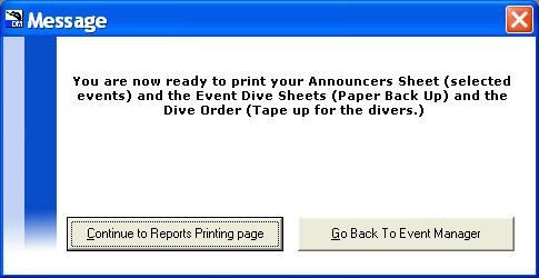 In the Prior to event reports window click on Diver Order about halfway down on the left. A sheet with the divers, in order, with their dive lists, will be generated.