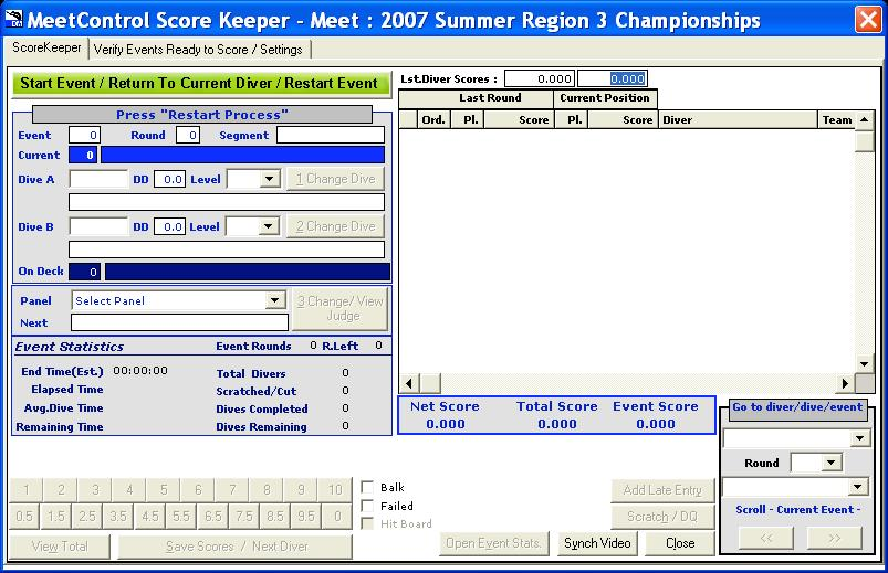 Return to the ScoreKeeper window and click on the green bar at the top left to start the event. A smaller window with the first diver s name and dive, and five boxes for scores, will appear.