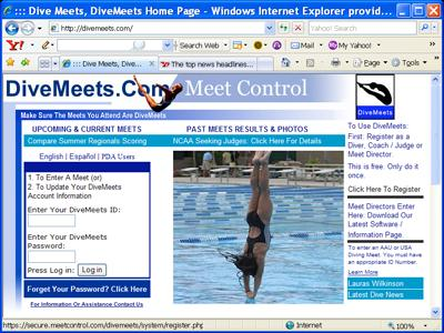 day. Software set up Using an Internet connected computer (the Master computer), go to divemeets.com. On the right hand side of the page is a link Meet Directors Enter Here.