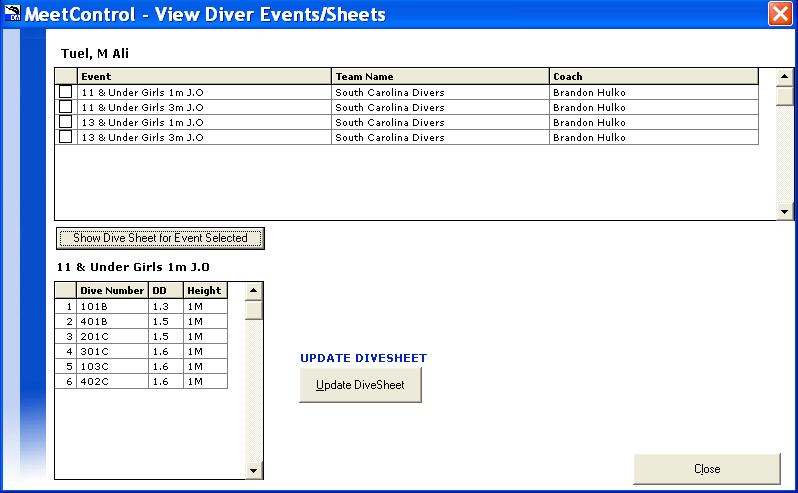 A new window will list the diver events. Select the event to be changed and click Show Dive Sheet for Event Selected. The Dive Sheet will be shown, then select Update DiveSheet.