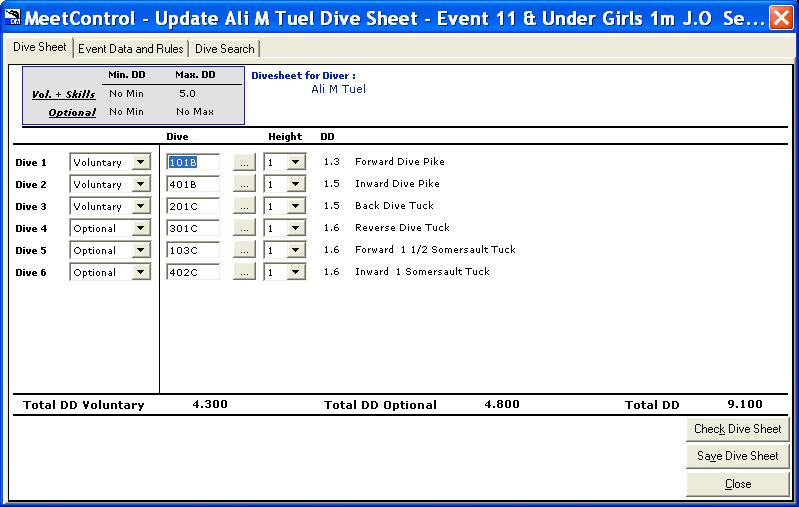 When OK, click Save Dive Sheet, click Yes, and then Close the View Diver Events/Sheets window.