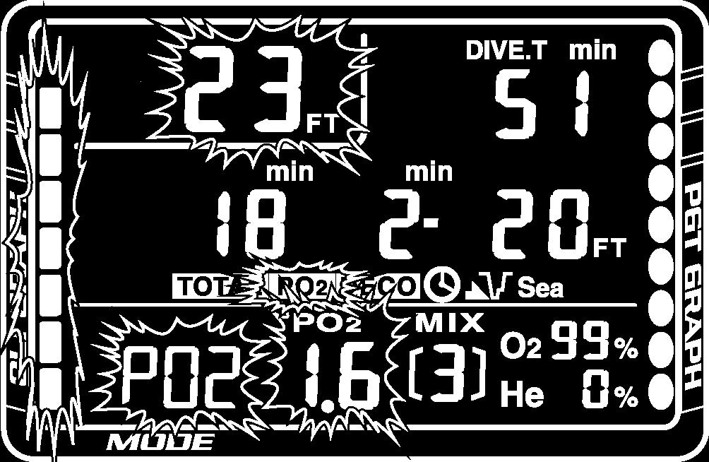 NiTek He Owner s Manual Page 23 PO 2 The PO 2 warning will occur at the value you set for it while in Dive Set mode. Figure 16 PO 2 warning.