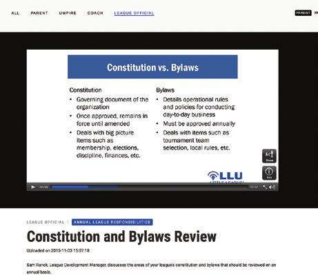BYLAWS Step 2. REVIEW CONSTITUTION AND BYLAWS: It is a requirement that every league spell out its operations in a document usually referred to as the Constitution.