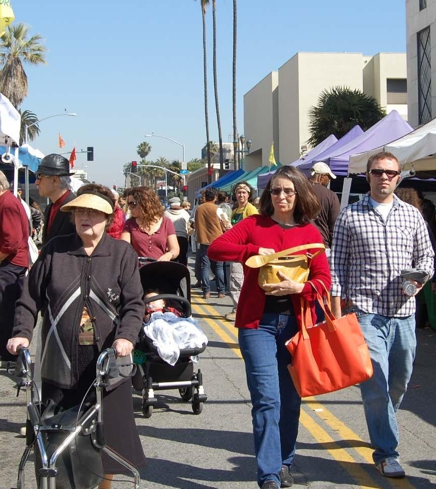 Community Themes Walking is part of the sustainable Santa Monica lifestyle and enhances wellbeing More pedestrians of