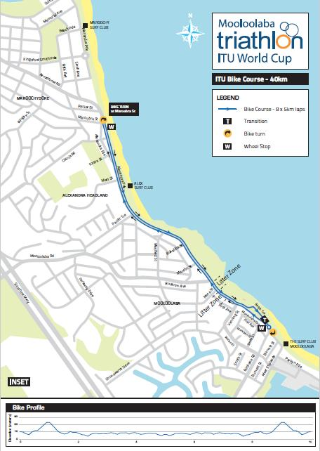 Bike Course The bike course is an 8 lap, 5km long course. The course is out and back in a clockwise direction along Mooloolaba Esplanade and Alexandra Parade.