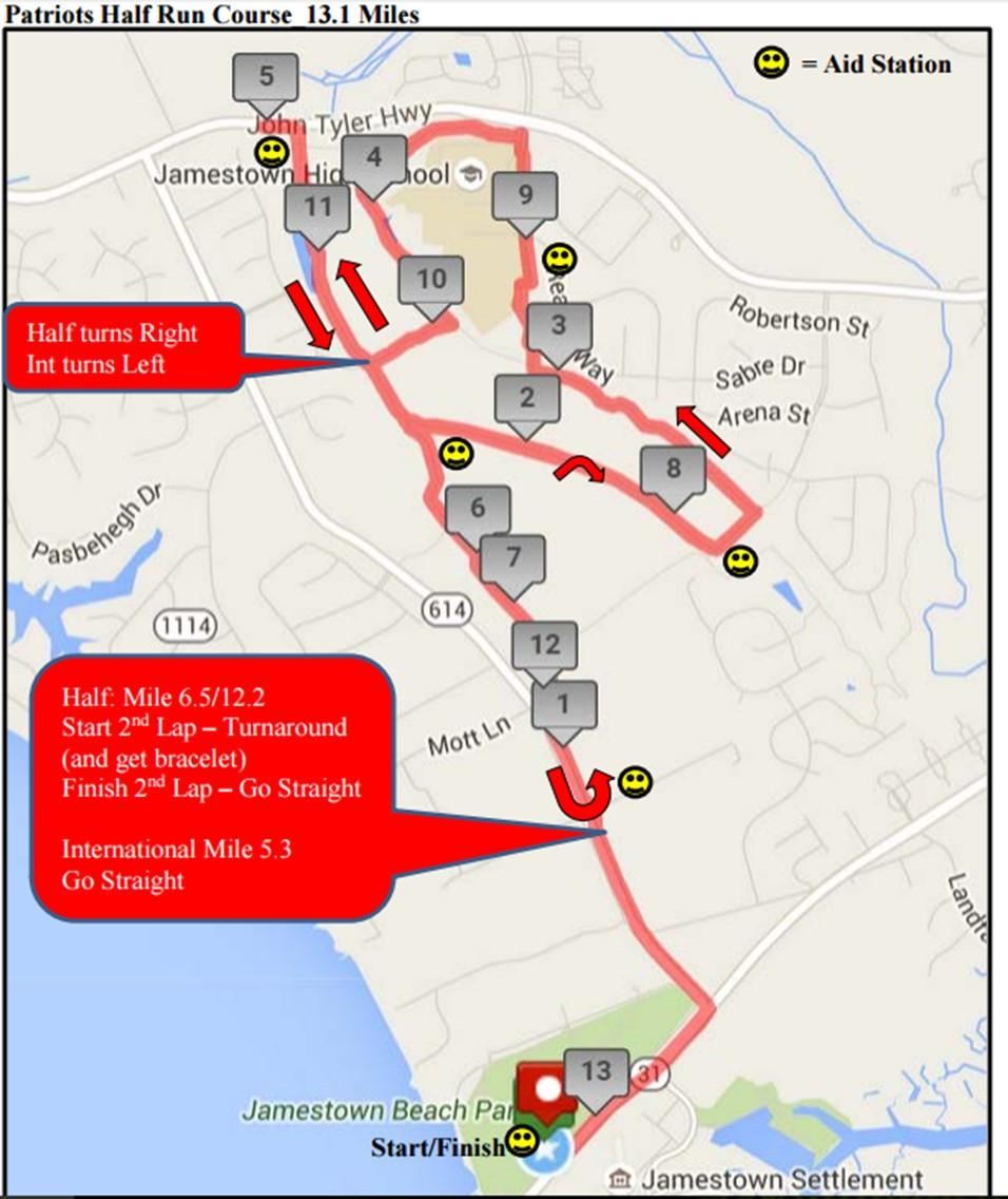 Run - 13.1 Mile (Flat) The run course map is also posted on the Patriot s Triathlon race page of the VTS-MTS website.