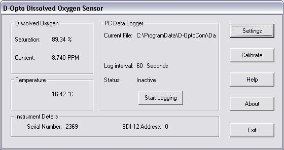 FIGURE 5: D-OPTOCOM MAIN WINDOW The main window displays current dissolved oxygen (% saturation and PPM) and temperature ( C) data, and is updated approximately every 2 seconds.