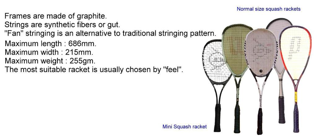 (D) Rackets (E) Balls (F) Eye Protection The World Squash Federation recommends that all Squash