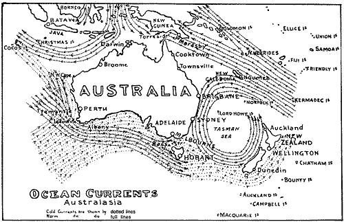 Australia is influenced by four major ocean currents: The Leeuwin Current The East Australian Current southward flowing from near Fraser Island to Tasmania The Indonesian Through flow a