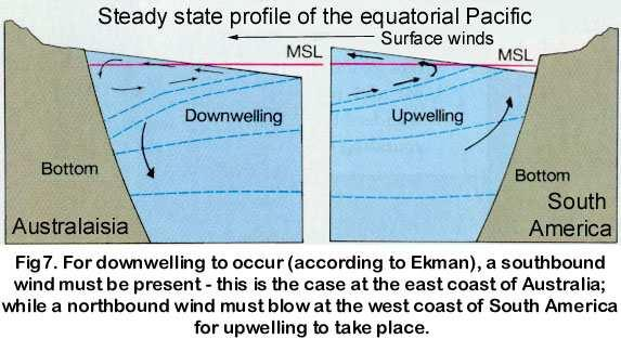 The Peruvian (Humboldt) Current: The cold Peruvian current (an eastern boundary current) flows towards the equator, along the coast of Ecuador and Peru. It flows with a speed of 0.1 to 0.15[m/s].