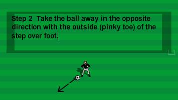 The player should place the step over foot to the opposite side of the cone and then move the non-step over foot alongside the step over foot.