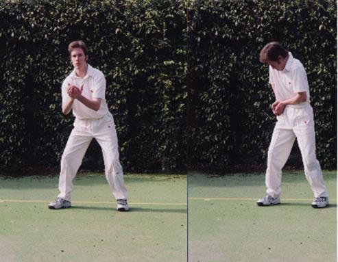 FIELDING BASICS - STATIONARY CATCH 1. Comfortable, relaxed, low stance. 2.