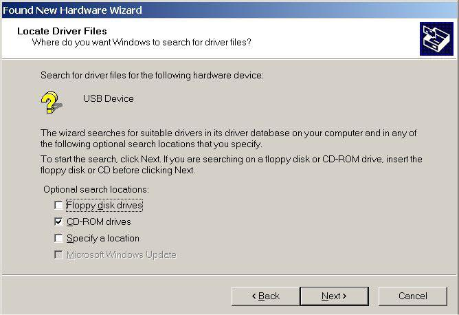 "(6) Check that ""Search for a suitable driver for my device"" has been selected and then click on ""NEXT""."