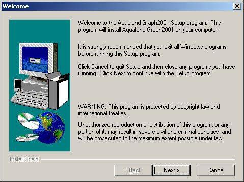 B. Installing AQUALAND GRAPH 2001 (accessory software) When AQUALAND GRAPH 2001 is installed from the CD-ROM provided by following the procedure described below, both AQUALAND GRAPH 2001 and CAPgm