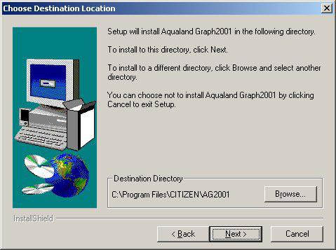 "The AQUALAND GRAPH 2001 installation menu is displayed automatically. If the installation menu is not displayed, double-click on ""install."