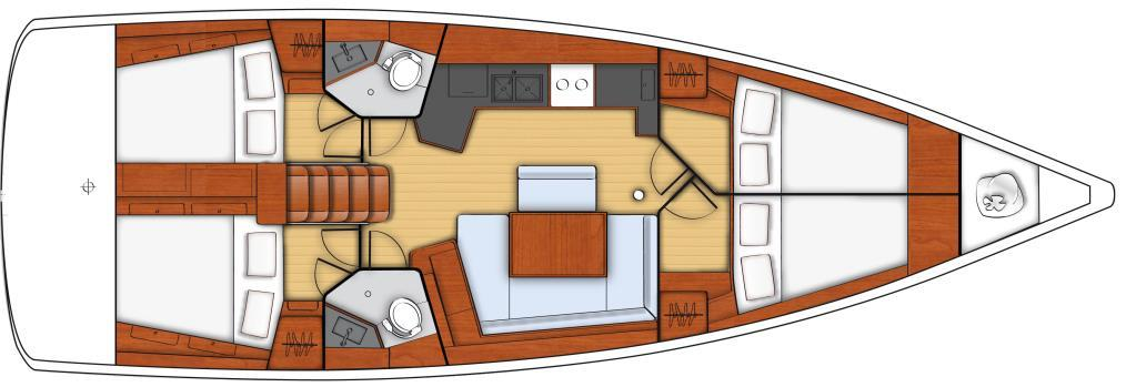 Beneteau Oceanis 5 Gaia Year of construction 2017 Engine Interior layout 13,85 m 13,50 m 12,7 m,9 m 2,15 m Kg 9550 8 + 2 5 Hp Sail Drive 200 lt. 570 lt.