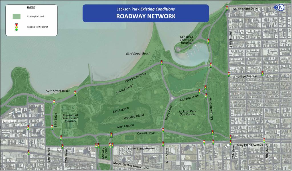 Roadway Improvements Support the South Lakefront Framework Plan Updates South Lake Shore