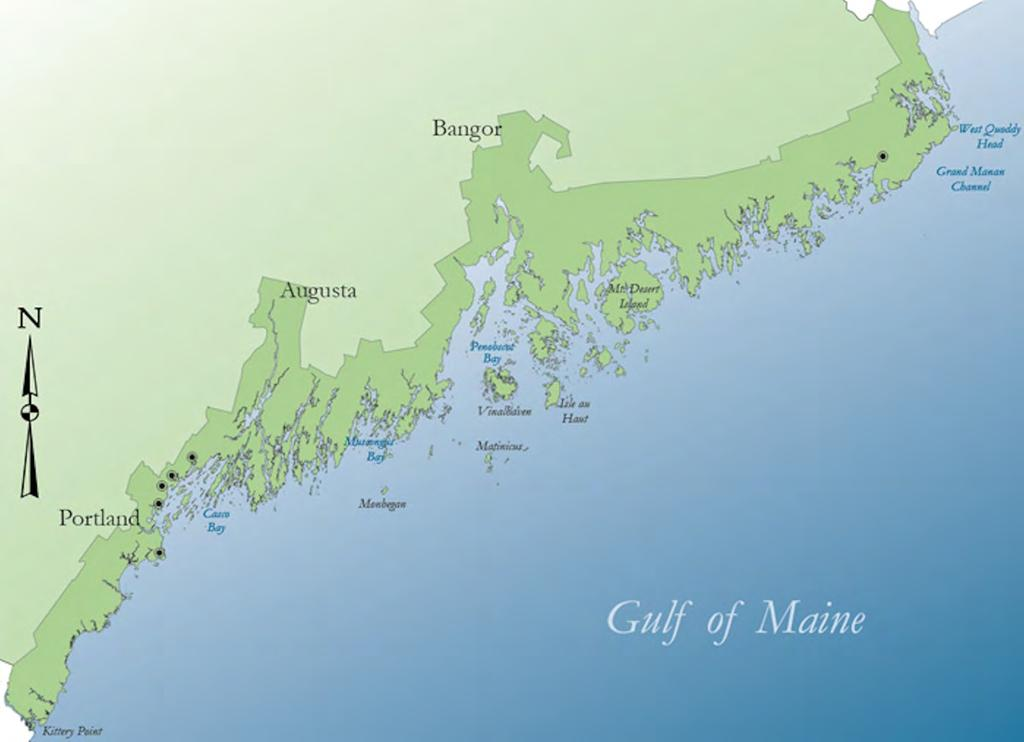 Green crab range extensions along the Maine coast (1905 1951) 1951 1930 1939 1937 1950
