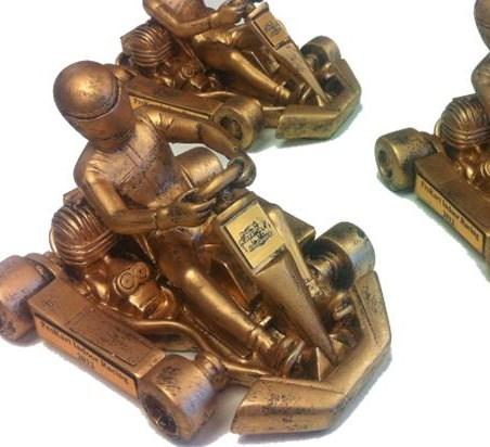 Celebrate the victory with these great trophies! Sculpted Kart Trophies $30.00 each Kart Star Trophy $11.00 each Medals $9.00 each Resin Trophy $12.