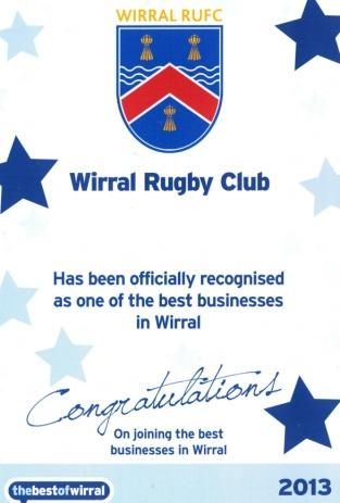 Seal of Approval for Rugby standards and Club Mark Status Active, growing cricket section during summer months Recognised as one of the best businesses on the Wirral to be involved with Social